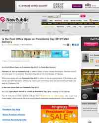 Is the Post Office Open on Presidents Day: NowPublic